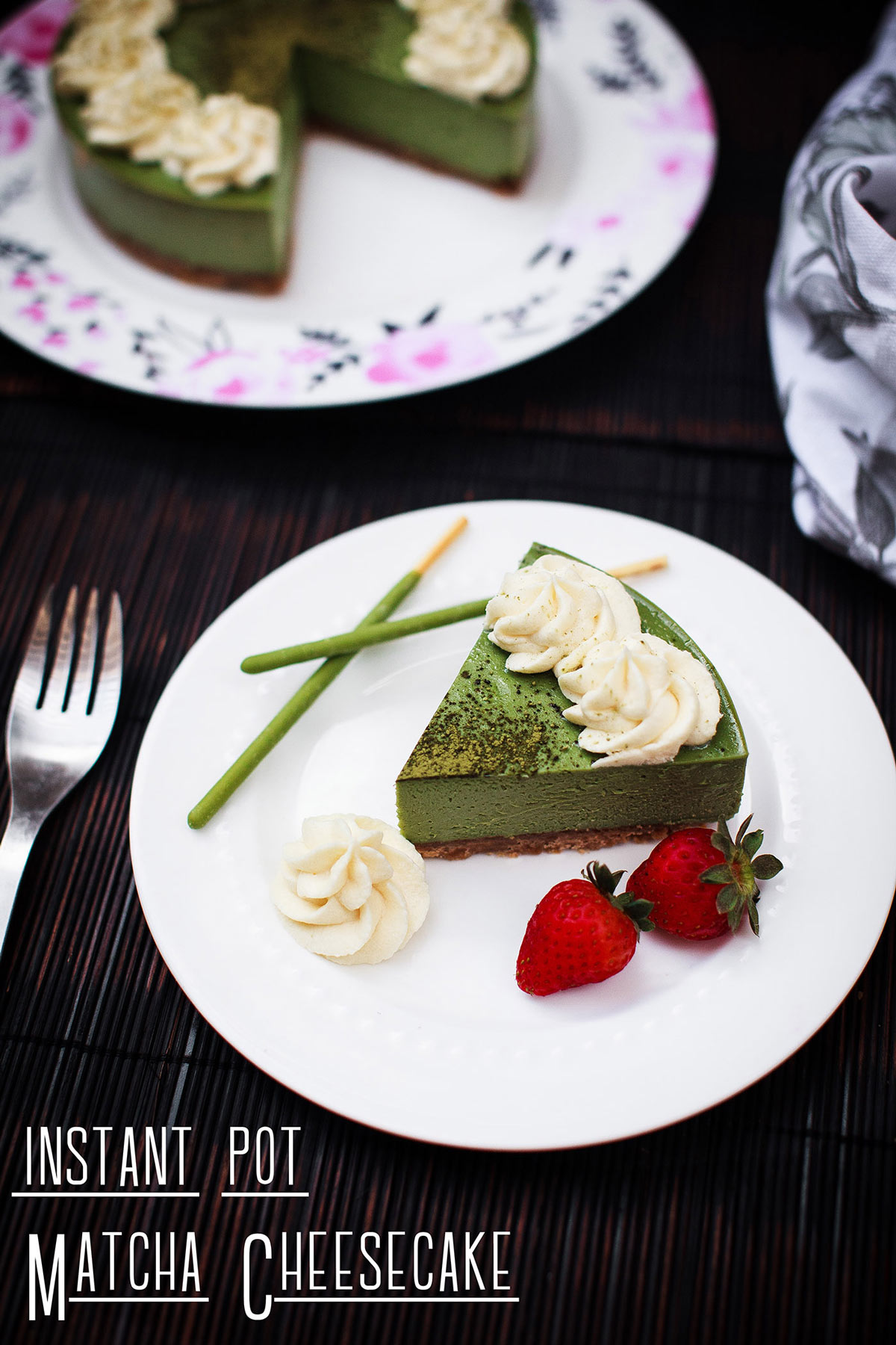 Instant Pot Matcha Cheesecake Recipe