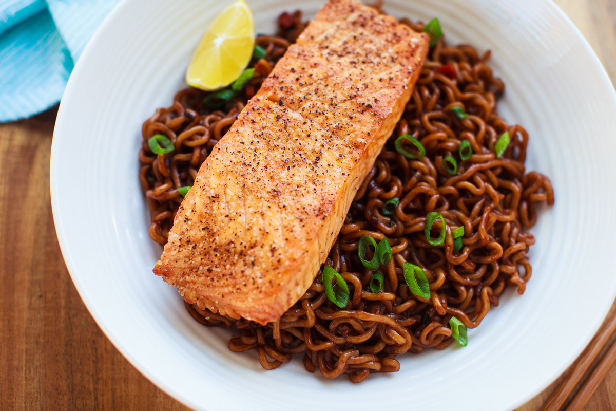 Air Fryer Broiled Salmon with Jjapaguri Noodles Recipe (Ram-Don)