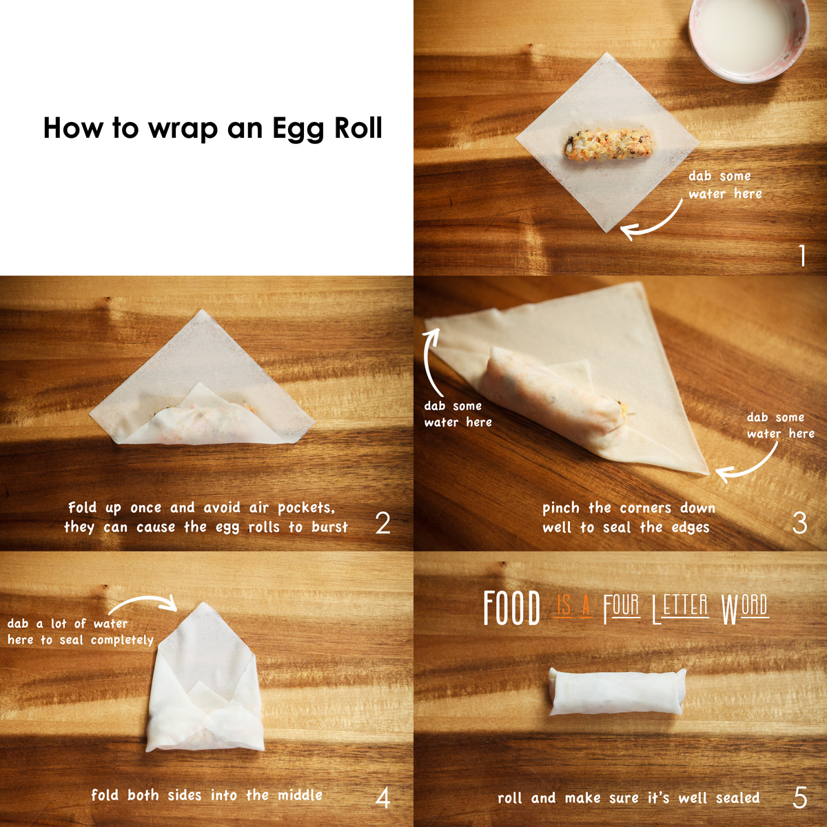 How to wrap and egg roll