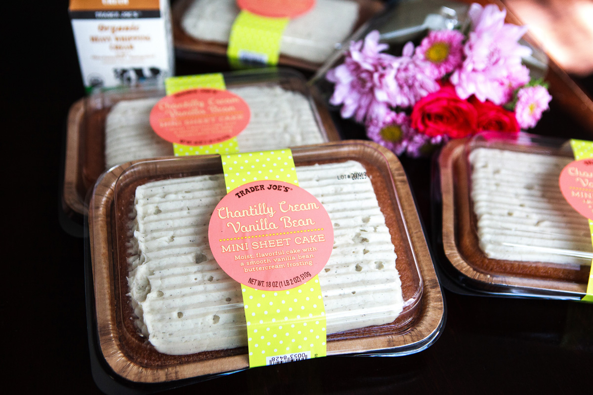 Trader Joe S No Bake Vanilla Bean Mini Sheet Cake Recipe Hack Food Is Four Letter Word