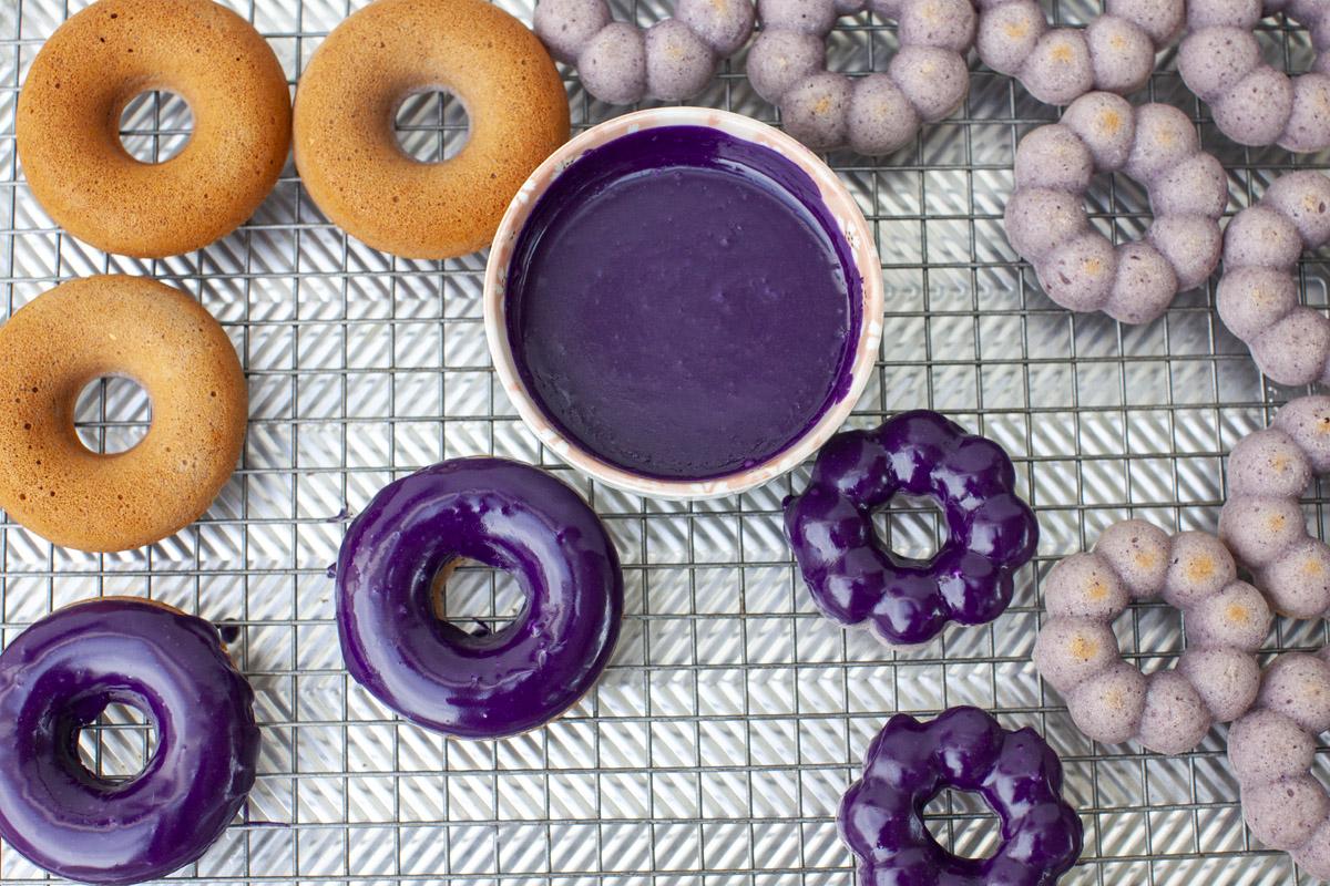 Baked Ube Mochi Donut Recipe made with Trader Joe's Ube Mochi Pancake Mix