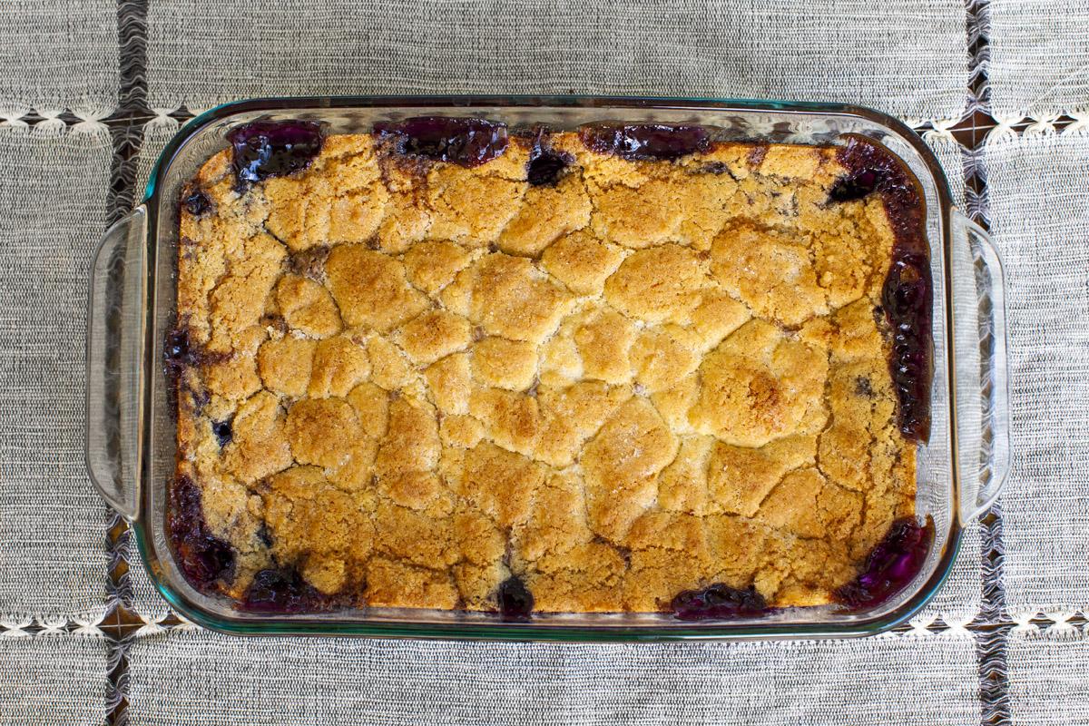 Easy Trader Joe's Blueberry Cobbler Recipe made with Trader Joe's Vanilla Cake Mix