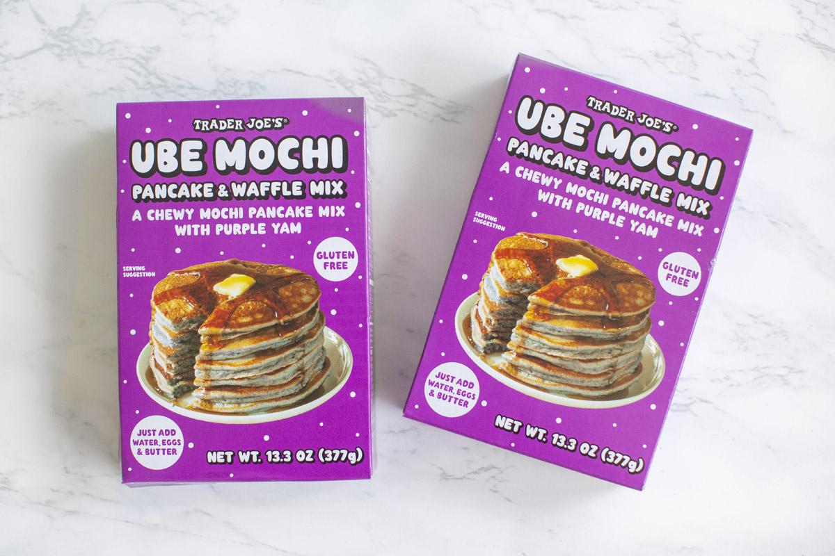 Ube Mochi Churros Recipe made with Trader Joe's Ube Mochi Waffle Mix