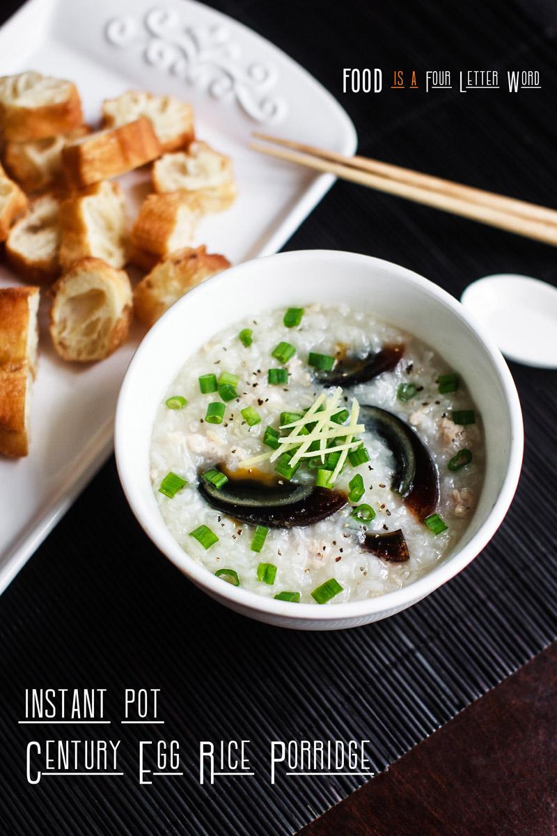 Instant Pot Century Egg Rice Porridge Recipe (Cháo hột vịt bắc thảo)