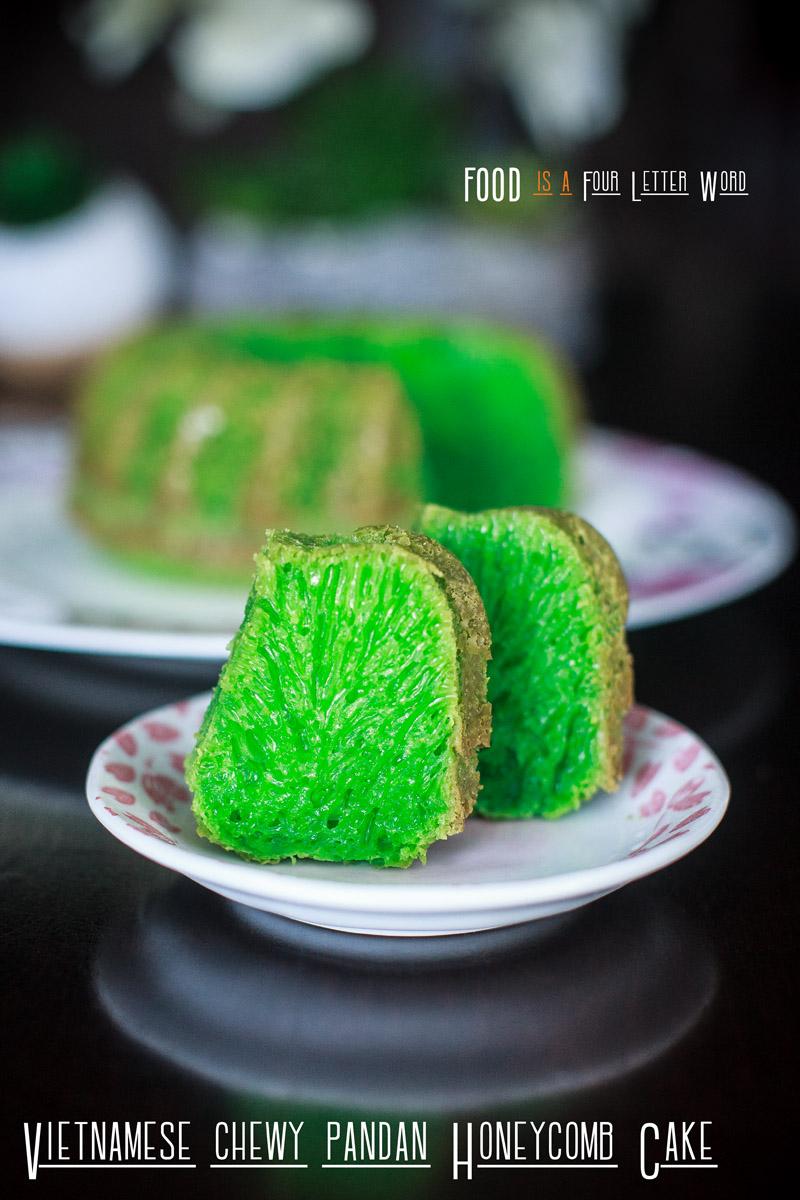 Vietnamese Chewy Pandan Honeycomb Cake Recipe - Bánh Bò Nướng Lá Dứa