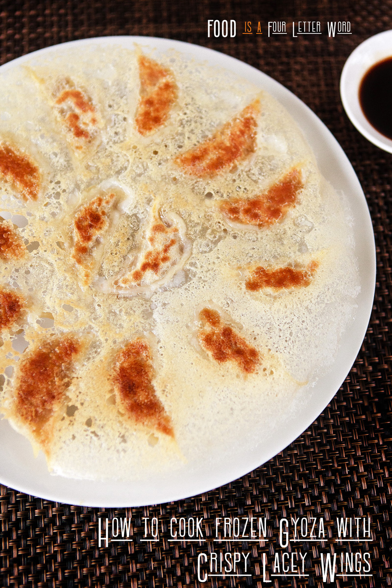 "How to cook Frozen Gyoza with Crispy Lacey ""Wings"""